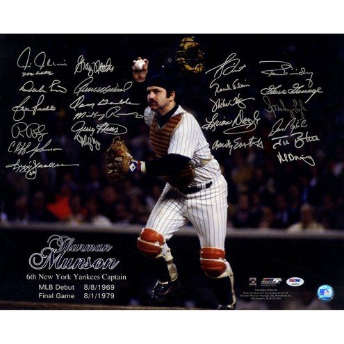 New York Yankees Thurman Munson 16 x 20 Photo Signed by Teammates (24 Signatures)