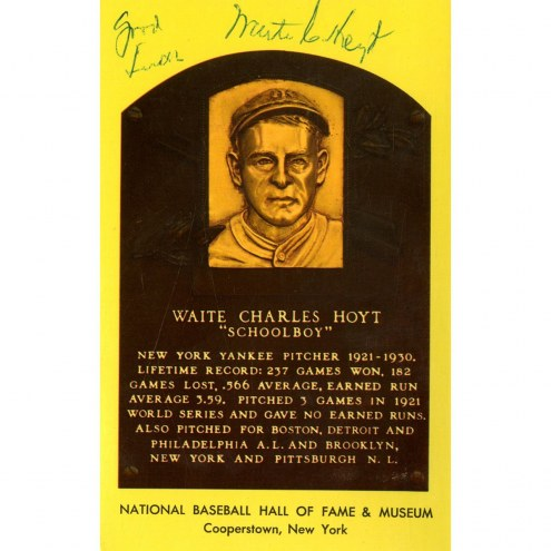 New York Yankees Waite Hoyt Signed HOF Plaque Postcard