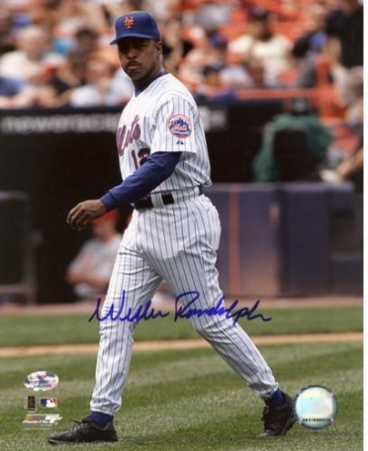 New York Yankees Willie Randolph Walking to Mound Signed 8 x 10 Photo