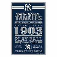 New York Yankees Established Wood Sign