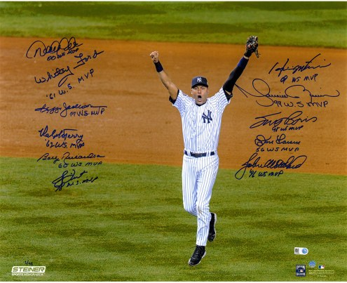 "New York Yankees World Series MVP Jeter Celebration Signed 16"" x 20"" Photo"