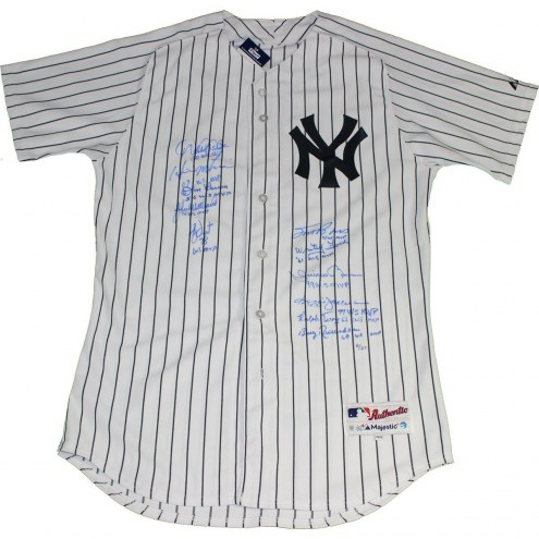 New York Yankees World Series MVP Multi-Signed & Inscribed Authentic Pinstripe Jersey