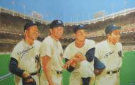 New York Yankees Yogi Berra & Whitey Ford Dual Signed with Mantle & Martin 24 x 36 Lithograph
