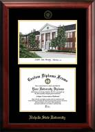Nicholls State Colonels Gold Embossed Diploma Frame with Campus Images Lithograph