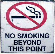 No Smoking Beyond This Point Sign From Giants Stadium (14x10)