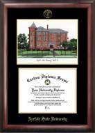 Norfolk State Spartans Gold Embossed Diploma Frame with Campus Images Lithograph