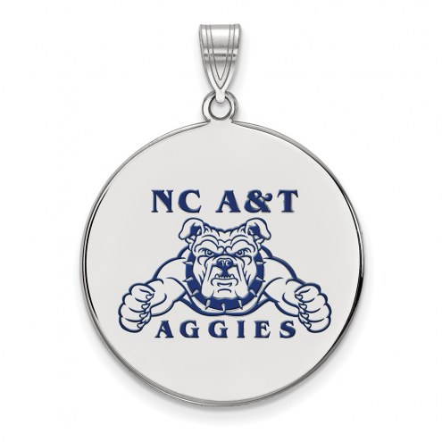 North Carolina A&T Aggies Sterling Silver Extra Large Enameled Disc Pendant