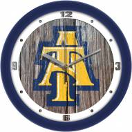 North Carolina A&T Aggies Weathered Wood Wall Clock