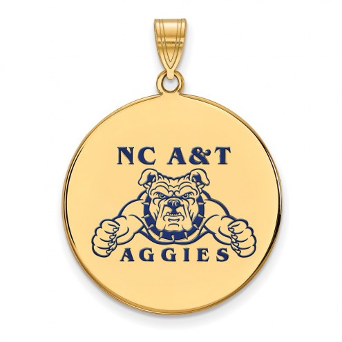 North Carolina A&T Aggies Sterling Silver Gold Plated Extra Large Enameled Disc Pendant
