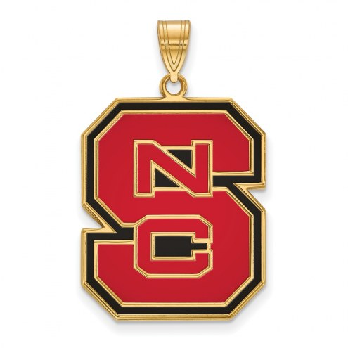 North Carolina State Wolfpack Sterling Silver Gold Plated Extra Large Enameled Pendant