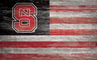 """North Carolina State Wolfpack 11"""" x 19"""" Distressed Flag Sign"""