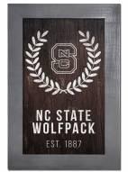 """North Carolina State Wolfpack 11"""" x 19"""" Laurel Wreath Framed Sign"""