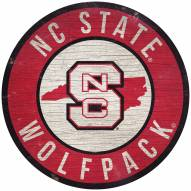 """North Carolina State Wolfpack 12"""" Circle with State Sign"""