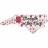 """North Carolina State Wolfpack 12"""" Floral State Sign"""