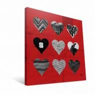 "North Carolina State Wolfpack 12"" x 12"" Hearts Canvas Print"