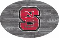 """North Carolina State Wolfpack 46"""" Distressed Wood Oval Sign"""