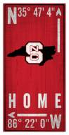 "North Carolina State Wolfpack 6"" x 12"" Coordinates Sign"