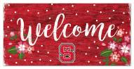 """North Carolina State Wolfpack 6"""" x 12"""" Floral Welcome Sign"""
