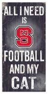 "North Carolina State Wolfpack 6"" x 12"" Football & My Cat Sign"