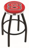 North Carolina State Wolfpack Black Swivel Barstool with Chrome Accent Ring