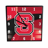 North Carolina State Wolfpack Carbon Fiber Square Clock