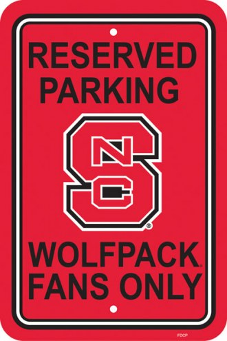 North Carolina State Wolfpack College Parking Sign