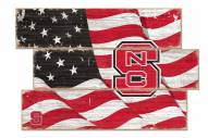 North Carolina State Wolfpack Flag 3 Plank Sign