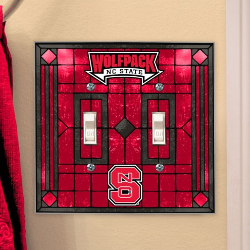 North Carolina State Wolfpack Glass Double Switch Plate Cover
