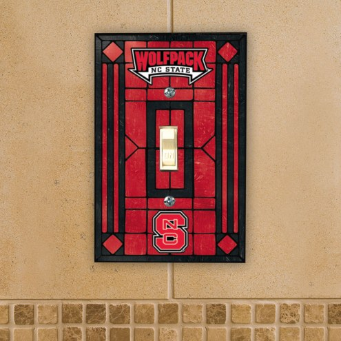 North Carolina State Wolfpack Glass Single Light Switch Plate Cover