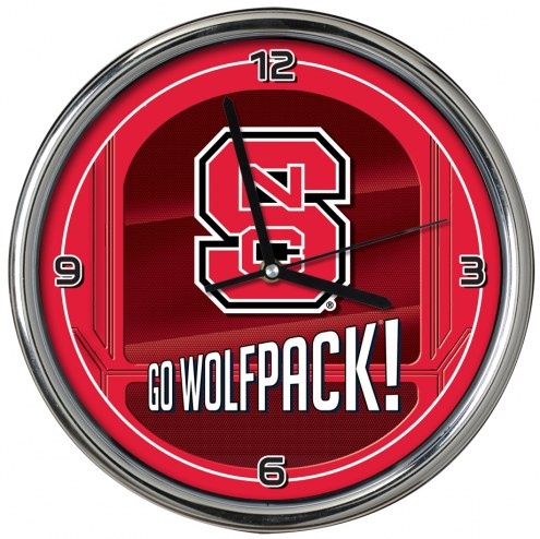 North Carolina State Wolfpack Go Team Chrome Clock