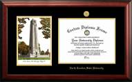 North Carolina State Wolfpack Gold Embossed Diploma Frame with Campus Images Lithograph
