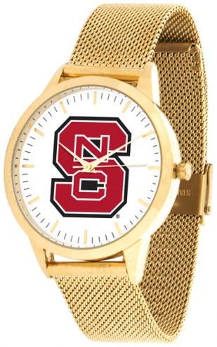 North Carolina State Wolfpack Gold Mesh Statement Watch