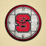 North Carolina State Wolfpack NCAA Stained Glass Wall Clock