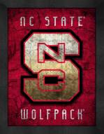 North Carolina State Wolfpack Retro Logo Map Framed Print
