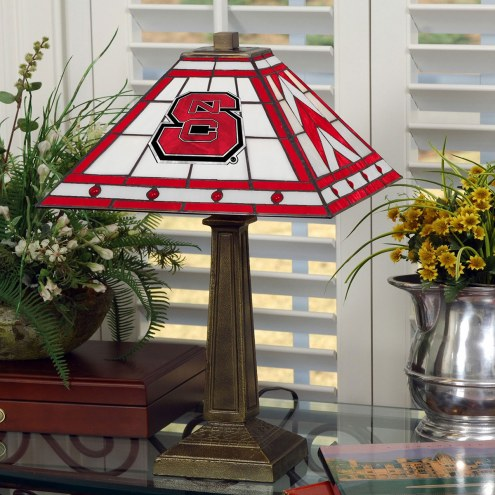 North Carolina State Wolfpack Stained Glass Mission Table Lamp