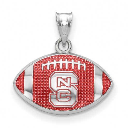 North Carolina State Wolfpack Sterling Silver Enameled Football Pendant