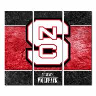 North Carolina State Wolfpack Triptych Double Border Canvas Wall Art