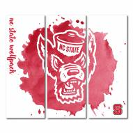 North Carolina State Wolfpack Triptych Watercolor Canvas Wall Art