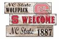North Carolina State Wolfpack Welcome 3 Plank Sign