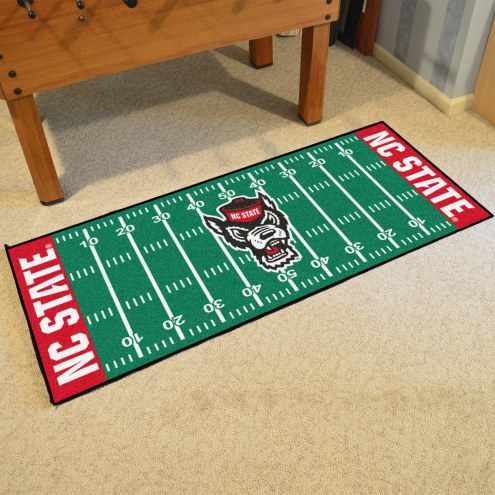 North Carolina State Wolfpack Wolf Head Football Field Runner Rug