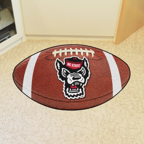 North Carolina State Wolfpack Wolf Head Football Floor Mat