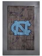 """North Carolina Tar Heels 11"""" x 19"""" City Map Framed Sign"""