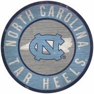 """North Carolina Tar Heels 12"""" Circle with State Sign"""