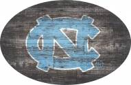 "North Carolina Tar Heels 46"" Distressed Wood Oval Sign"