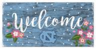 "North Carolina Tar Heels 6"" x 12"" Floral Welcome Sign"