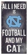 "North Carolina Tar Heels 6"" x 12"" Football & My Cat Sign"