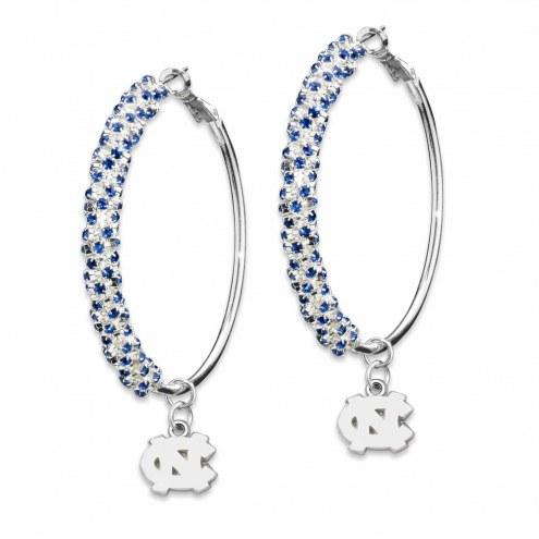 North Carolina Tar Heels Amped Logo Crystal Earrings
