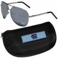 North Carolina Tar Heels Aviator Sunglasses and Zippered Carrying Case