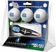 North Carolina Tar Heels Black Crosshair Divot Tool & 3 Golf Ball Gift Pack