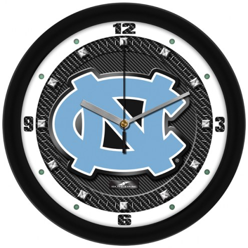 North Carolina Tar Heels Carbon Fiber Wall Clock